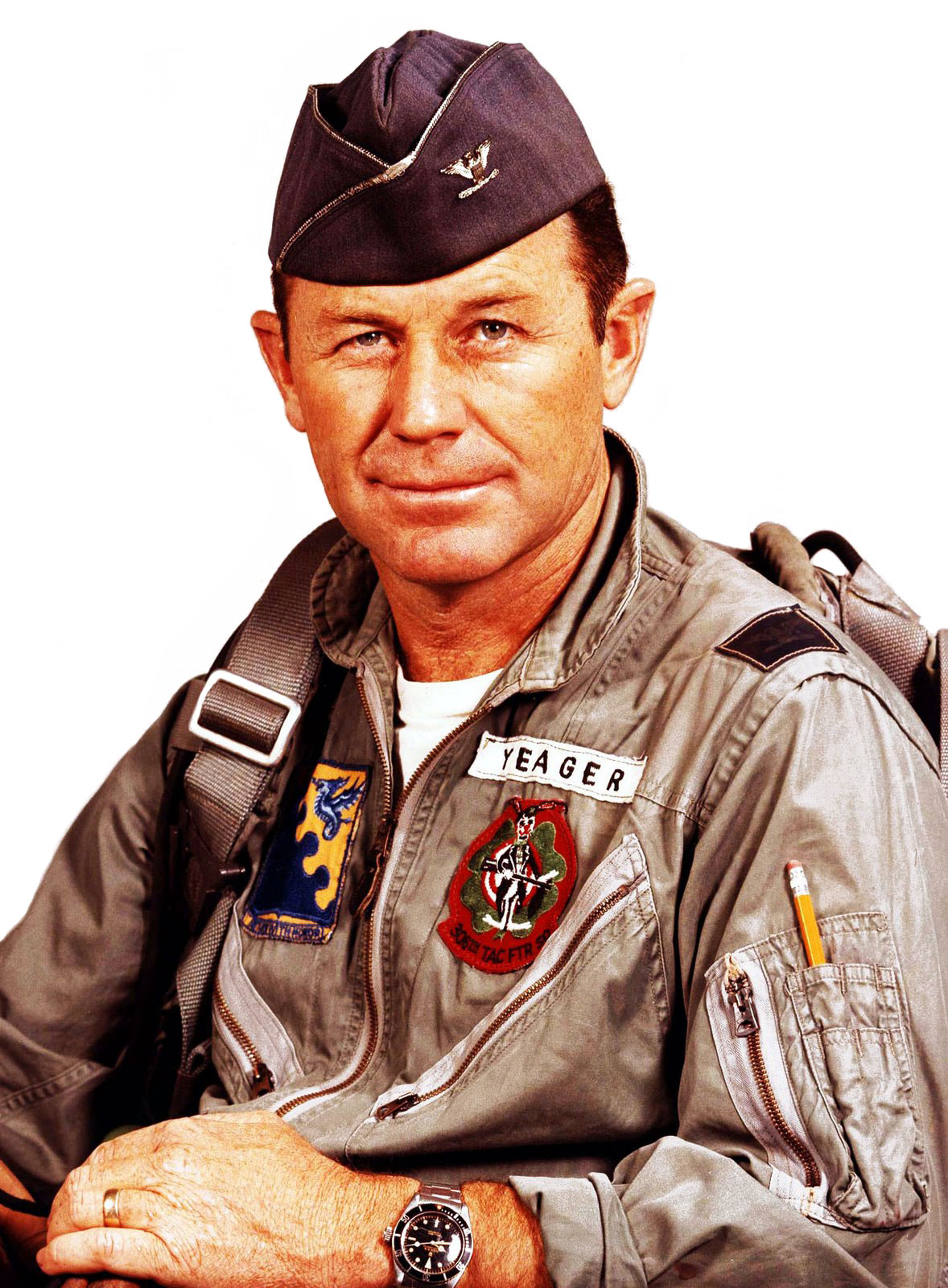 a story of the life and career of chuck yeager Captain chuck yeager with the x-1 supersonic research aircraft in 1947, shortly after breaking the sound barrier shot down over enemy territory only one day after his first kill in 1943, yeager evaded capture, and with the aid of the french resistance, made his way across the pyrenees to neutral spain.