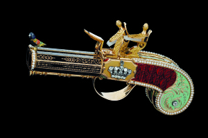 Double-barrelled pistol with singing bird