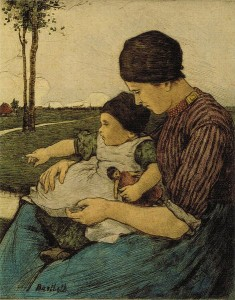 s51:cb Mother_and_Child_Volendam_drypoint_with_hand-applied_watercolor_by_Charles_W._Bartlett