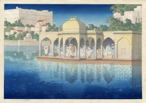 s51:cb 'Prayers_at_Sunset,_Udaipur,_India',_woodblock_print_by_Charles_W._Bartlett,_1919,_Honolulu_Academy_of_Arts