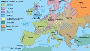 De religieuze kaart van Europa in de 16e eeuw.