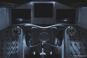De cockpit van de Bloodhound die volledig door Andy Green ontworpen is