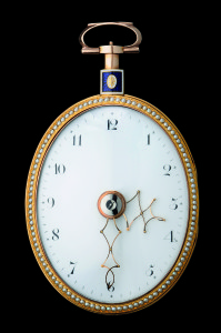 Oval-shaped English pocket watch with telescopic hands © 2011 FEMS Pully Switzerland Photography R_ Sterchi
