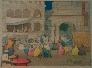 s51:cb Charles_W._Bartlett_-_Color_woodblock_print,_Charles_W._Bartlett._Amritsar._Woodcut,_1916.