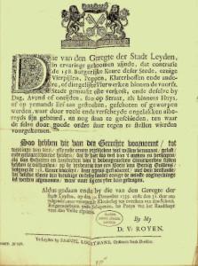 Dat de invloed van Calvijn reikte tot in Nederland blijkt uit dit document.  Het is een vuurwerkverbod voor de stad Leiden in 1735. Bij overtreding moest een boete betaald worden van 30 zilveren guldens, dit is nu ruim 1200 euro.