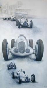 JB olie op canvas Mercedes in Monaco 1937, 184cm x 148cm
