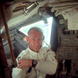 Buzz Aldrin in the cockpit wearing his Omega Speedmaster